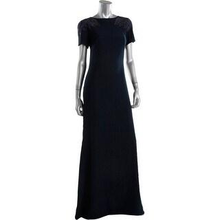 Tadashi Shoji Womens Crepe Beading Evening Dress