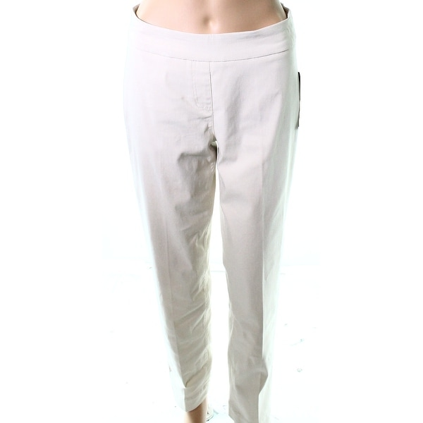 2c7a3f7a4c454 Slim-Station Beige Womens Size 4 Petite Pull On Ankle Stretch Pants