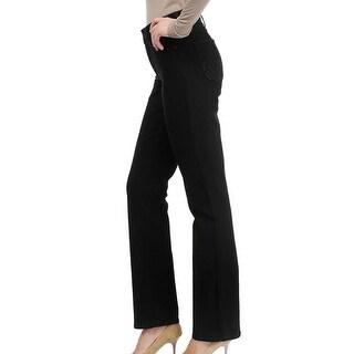 NYDJ NEW Black Womens Size 14 Embellished-Back Pocket Straight Leg Jean