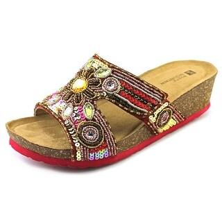 White Mountain Blinker Women W Open Toe Leather Multi Color Wedge Heel