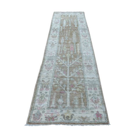 """Hand Knotted Brown Oushak And Peshawar with Wool Oriental Rug (2'9"""" x 10'3"""") - 2'9"""" x 10'3"""""""