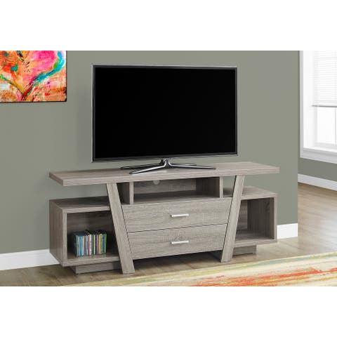 Monarch 2721 Dark Taupe 60nch Tv Stand With 2 Storage Drawers