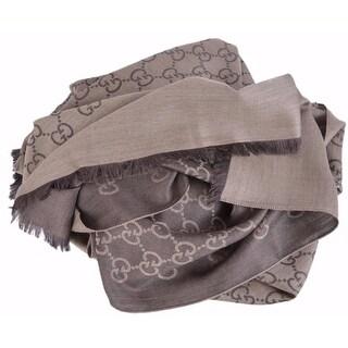 Gucci 165903 XL Brown Wool Silk GG Guccissima Logo Scarf Shawl Wrap