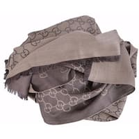 Gucci 165903 XL Brown Wool Silk GG Guccissima Logo Scarf Shawl Wrap