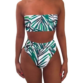 Link to Pink Queen Women's Leaf Printed 2 Pieces Bandeau High Waist Bikini Swimsuits L - Large Similar Items in Women's Surf & Swim Clothing