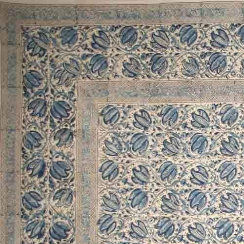 Handmade Vegetable Dye Block Print Cotton Tablecloth Rectangular 60x90 Inches 60x60 Square 72 Inch Round Napkins Blue Green Red - Thumbnail 1