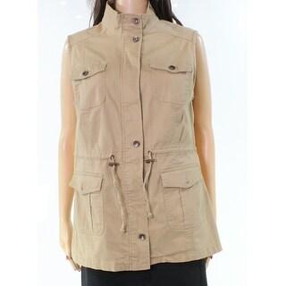 Live a Little NEW Beige Women Small S Multi-Pocket Mock Neck Vest Jacket