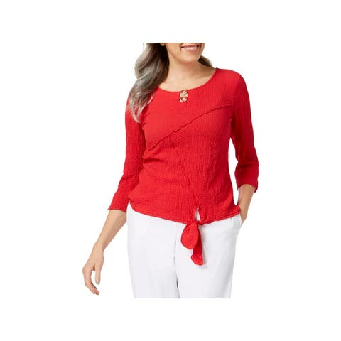 Alfred Dunner Womens Barcelona Blouse Knot-Front 3/4 Sleeves