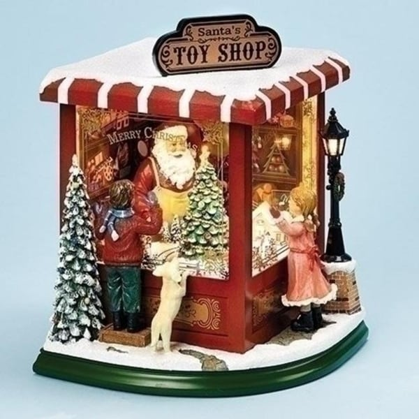 """10.5"""" LED Santa's Toy Shop with Rotating Christmas Tree Musical Table Top Figure - green"""