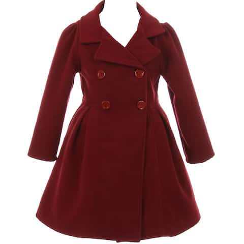 Flower Girls Winter Clothes Long Coat Outerwear Burgundy