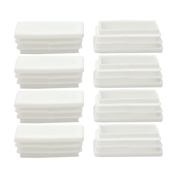 8pcs 25 x 50mm Plastic Rectangle Ribbed Tube Inserts End Cover Pad Furniture Chair Table Feet Floor Protector