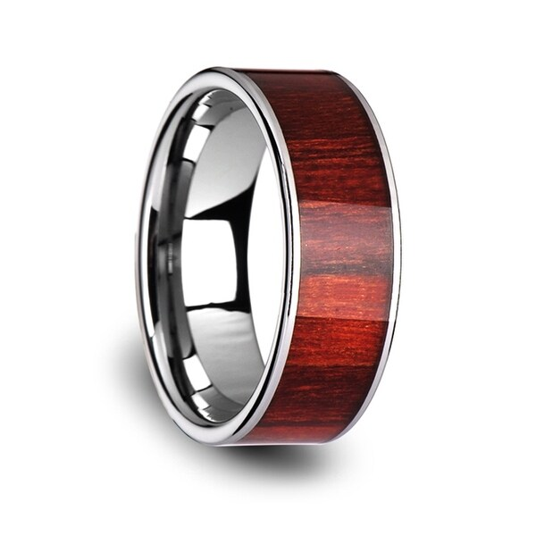 THORSTEN - SHERWOOD Flat Tungsten Carbide Band with Exotic Brazilian Rose Wood Inlay and Polished Edges