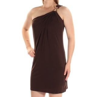 Womens Brown Sleeveless Above The Knee Shift Dress Size: M