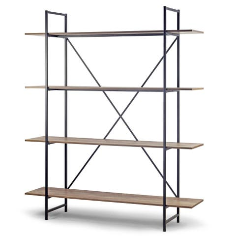 August 75.5 In. Light Brown Metal Frame Etagere Bookcase Four-shelf