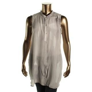 Eileen Fisher Womens Silk Mandarin Tunic Top