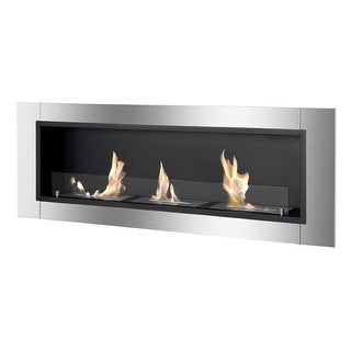 Ignis WMF-022G-2 Ardella Wall Mounted / Recessed Ventless Ethanol Fireplace with Glass Barrier - black, stainless steel