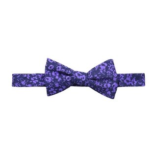 Tommy Hilfiger Purple Men's Floral Printed Self-Tie Silk Bow Tie