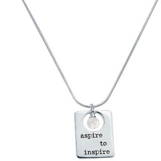 "20"" Sterling Silver and Faux Pearl ""Aspire to Inspire"" Pendant Necklace"