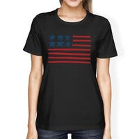 USA Flag Womens Black Graphic T-Shirt Unique Independence Day Tee