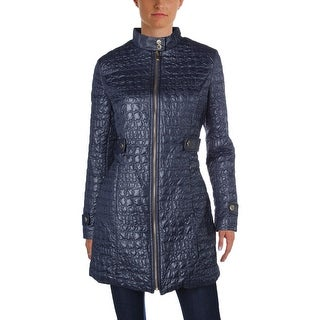 Via Spiga Womens Coat Quilted Faux Leather Trim
