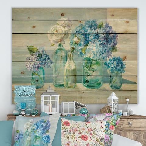 Designart 'Coastl Flowers Bouquets' Nautical & Coastal Print on Natural Pine Wood - Blue