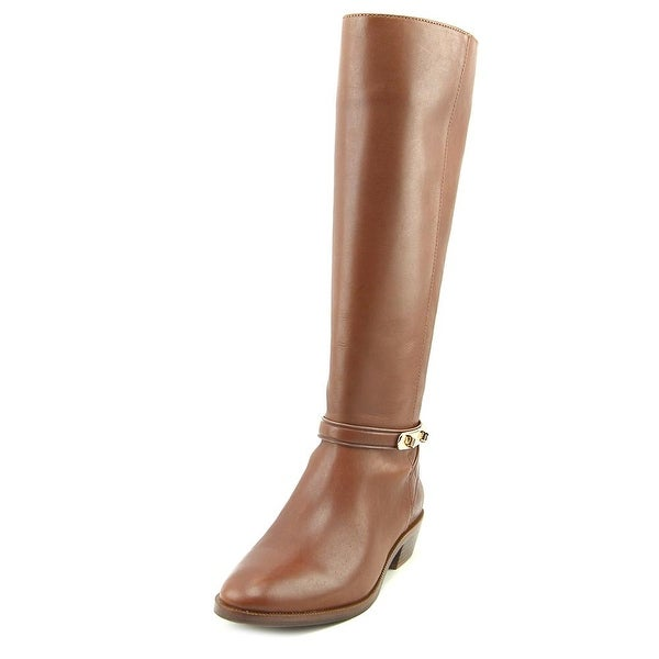 Coach Caroline Semi Matte Calf Women Round Toe Leather Brown Over the Knee Boot