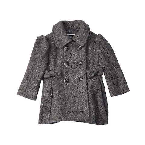 Rothschild Girl Charcoal Gray Size 2T Sparkle Bow Button-Front Coat