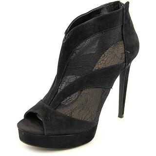 Jessica Simpson Adaway Women Peep-Toe Suede Black Bootie