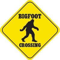Crossing Bigfoot Funny Yellow Aluminum Caution Sign