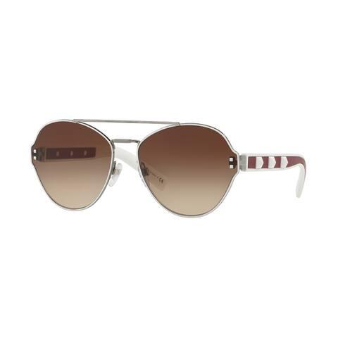 Valentino VA2025 304613 60 Gunmetal/white Woman Irregular Sunglasses