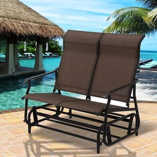 Costway 2 Person Patio Glider Rocking Bench Double Chair Loveseat Armchair Tan - Brown