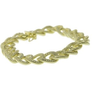925 Sterling Silver Cuban Bracelet with Cubic Zirconia