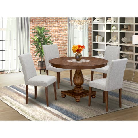 Dinette Set - Pedestal Dinner Table and Doeskin Parson Chairs with High Back - Antique Walnut Finish