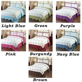 3pc Blue Green Purple Pink Red Brown Full Size Bedspread Quilted High Quality Bed Cover Embroidery Quilt