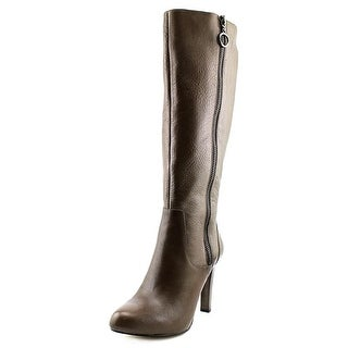 INC International Concepts Brenden Wide Calf Women Leather Brown Knee High Boot