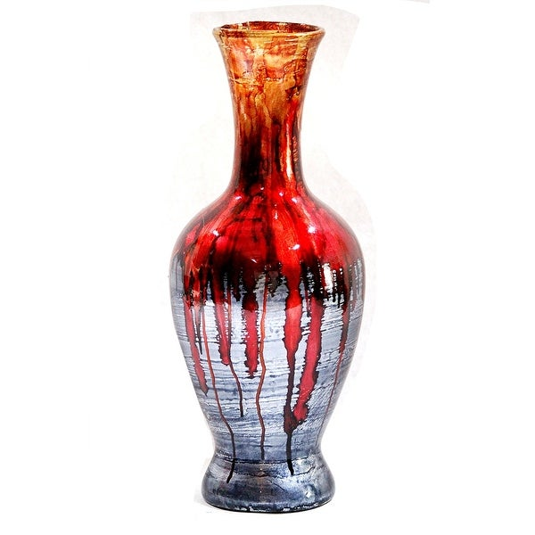 """18"""" Foiled & Lacquered Ceramic Vase - Ceramic, Lacquered In Red And Gray"""