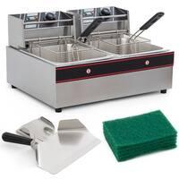 Arksen 5000W Electric 12 Liter Dual Tank Kitchen Countertop Deep Fryer Built-In Temperature