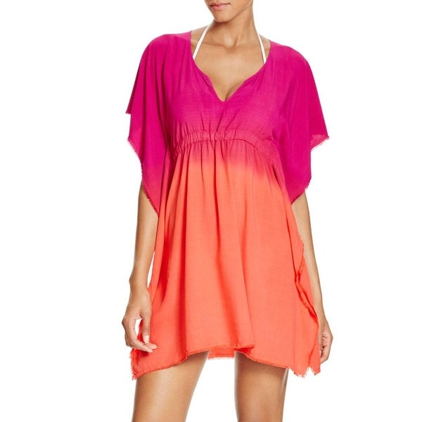 Becca Womens Rayon Ombre Dress Swim Cover-Up