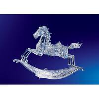 Pack of 2 Icy Crystal Musical Christmas Rocking Horses 10.5""