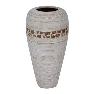 "19"" Spun Bamboo Vase - Bamboo In Distressed White W/ Coconut Shell"