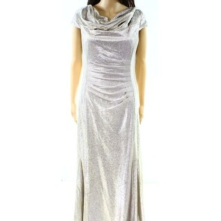 Tahari NEW Silver Powder Women's Size 10 Gathered Cowl-Neck Gown