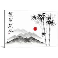 Premium Thick-Wrap Canvas entitled Sketch of Scenery - Multi-color