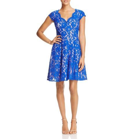 Eliza J Womens Casual Dress V-Neck Fit & Flare - Royal Blue