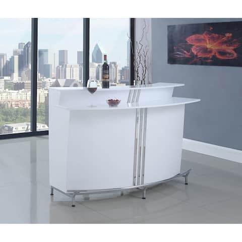 Breton Contemporary White Bar Unit with Stemware Racks
