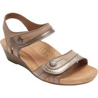 Rockport Women's Hollywood 2 Piece Sandal Khaki Leather