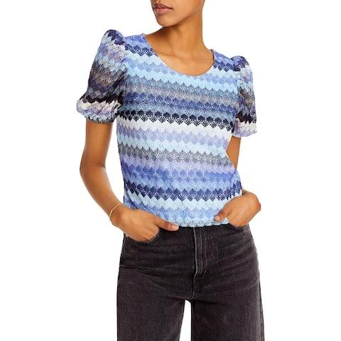Aqua Womens Blouse Crochet Puff Sleeves - Blue Multi