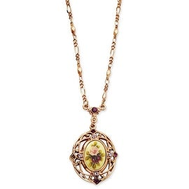 Rosetone Light and Dark Purple Crystal/Floral Decal Necklace - 28in