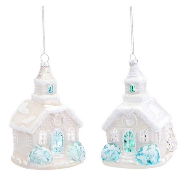Pack of 6 Wintry Snow-Covered White Church Glass Christmas Ornaments 5""