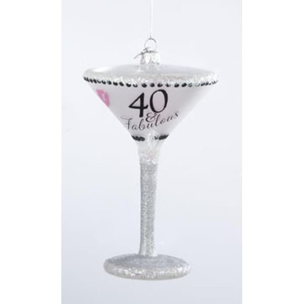 "Happy Hour Mouth Blown Glass ""40 & Fabulous"" Martini Cocktail Christmas Ornament"