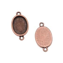 Nunn Design Antiqued Copper Plated Bezel Pendant Oval Link 14mm